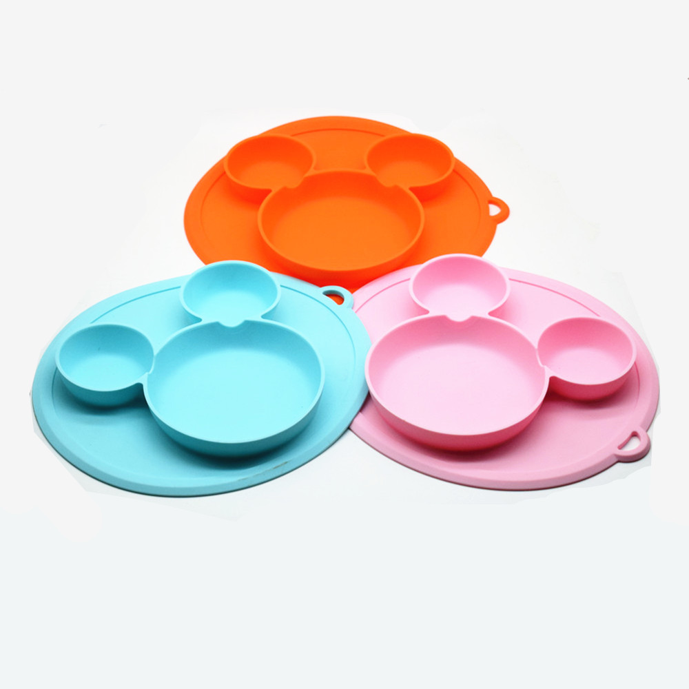 Plate For Kids With Silicone Baby Bowl Suction BPA Free Feeding Baby Tableware Children Dining Dishes
