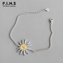 F.I.N.S Korean S925 Sterling Silver Bracelet INS Unique Sun Flower Chain Bracelet Charm Bracelet on Women's Hand Decoration(China)