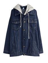 女性の特大ルースボーイフレンドデニムジャケットフード付きジーンズジャケット