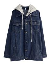 Womens Oversized Loose Boyfriend Denim Jacket Hooded Jean Jacket