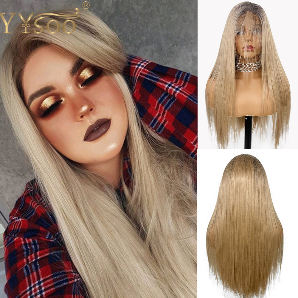 YYsoo Long Ombre Silky Straight Futura Full Lace Wig Dark Roots #103 Color Soft Glueless Full Hand Tied Synthetic Wigs For Women
