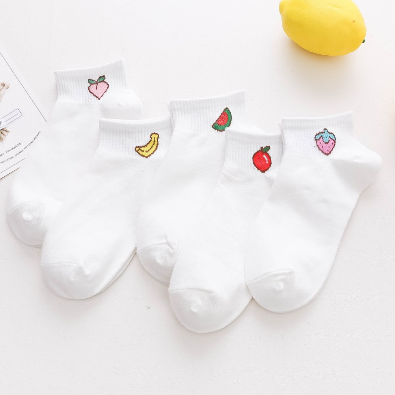 2019 new spring summer art fresh fruit boat socks white soft cotton socks breathable cute Promotion women's travel Hosiery