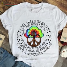 Hippie Earth Day I See Trees of Green A Wonderful World White T-Shirts 2019 Brand Printing Fashion Men Casual Fitness Tops Tees i see trees of green red roses too i see them bloo men t shirts wonderful world casual 100% cotton tees t shirt 4x 5x clothes