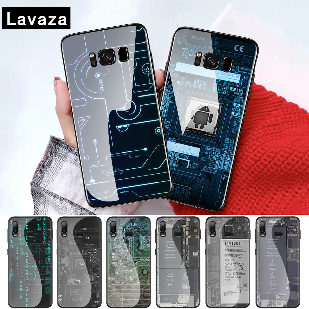 Circuit <font><b>Board</b></font> Luxury Coque Glass case for Samsung S7 Edge S8 S9 S10 Plus A10 A20 A30 A40 A50 A60 A70 <font><b>Note</b></font> <font><b>8</b></font> 9 10 image