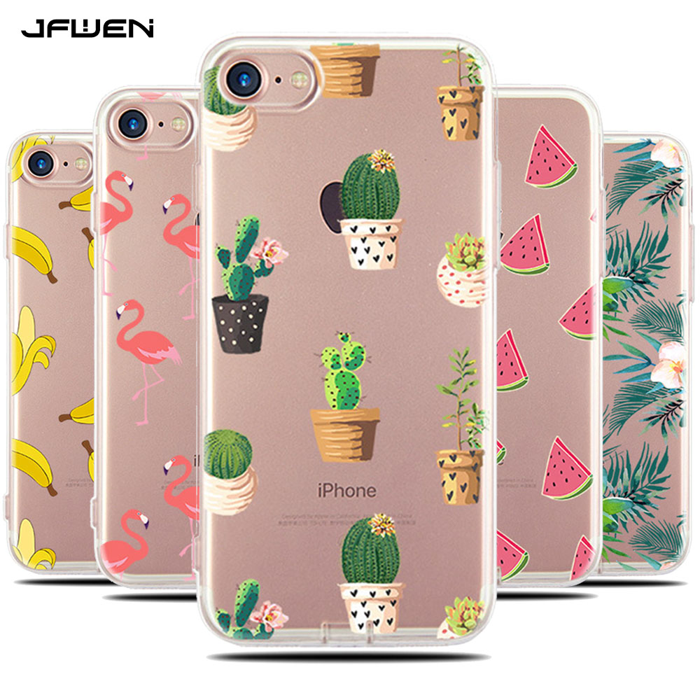 For Coque iphone 6S Case Silicone Transparent Soft TPU Back Cover For iphone 6 6S 7 Plus Case Banana Flower Painted Phone Cases  iphone