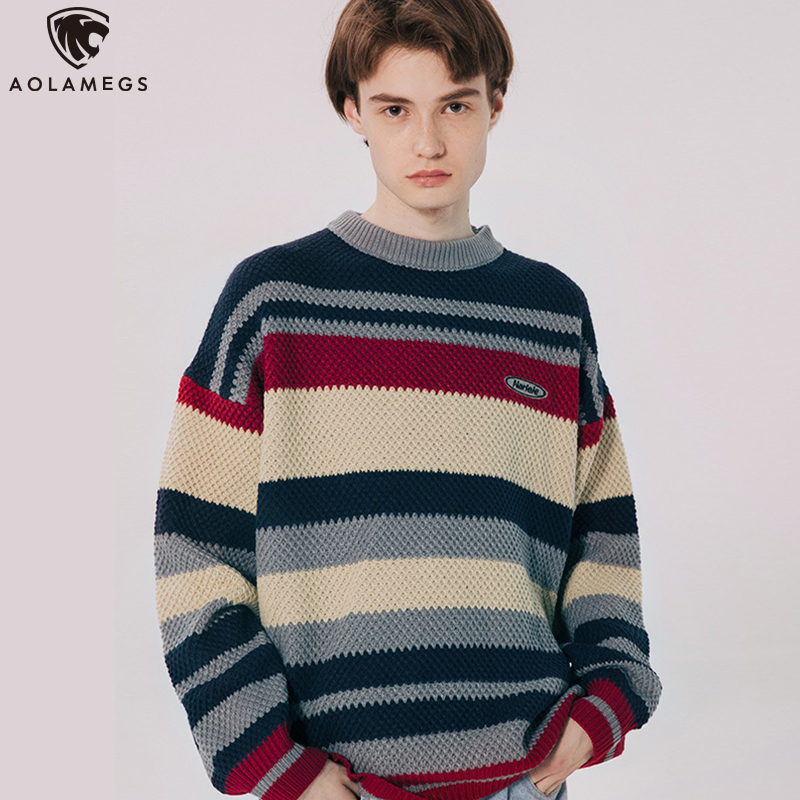 Aolamegs Sweater Men Retro Striped Mens Pullover Soft Comfortable Harajuku O-neck Male Sweaters Lovers Knitted Sweater Autumn