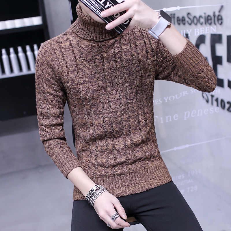Outono e inverno masculino quente gola alta versão coreana reparação gola redonda juventude roupas estudantes inverno grosso camisola de malha