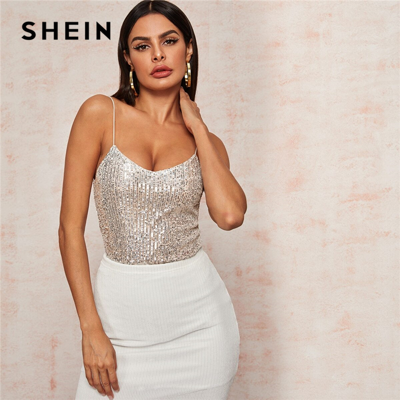 SHEIN Beige V-Neck Silver Lining Sequin Cami Top Spring Summer Sexy Spaghetti Strap Vest Sleeveless Ladies Glamorous Tops 1