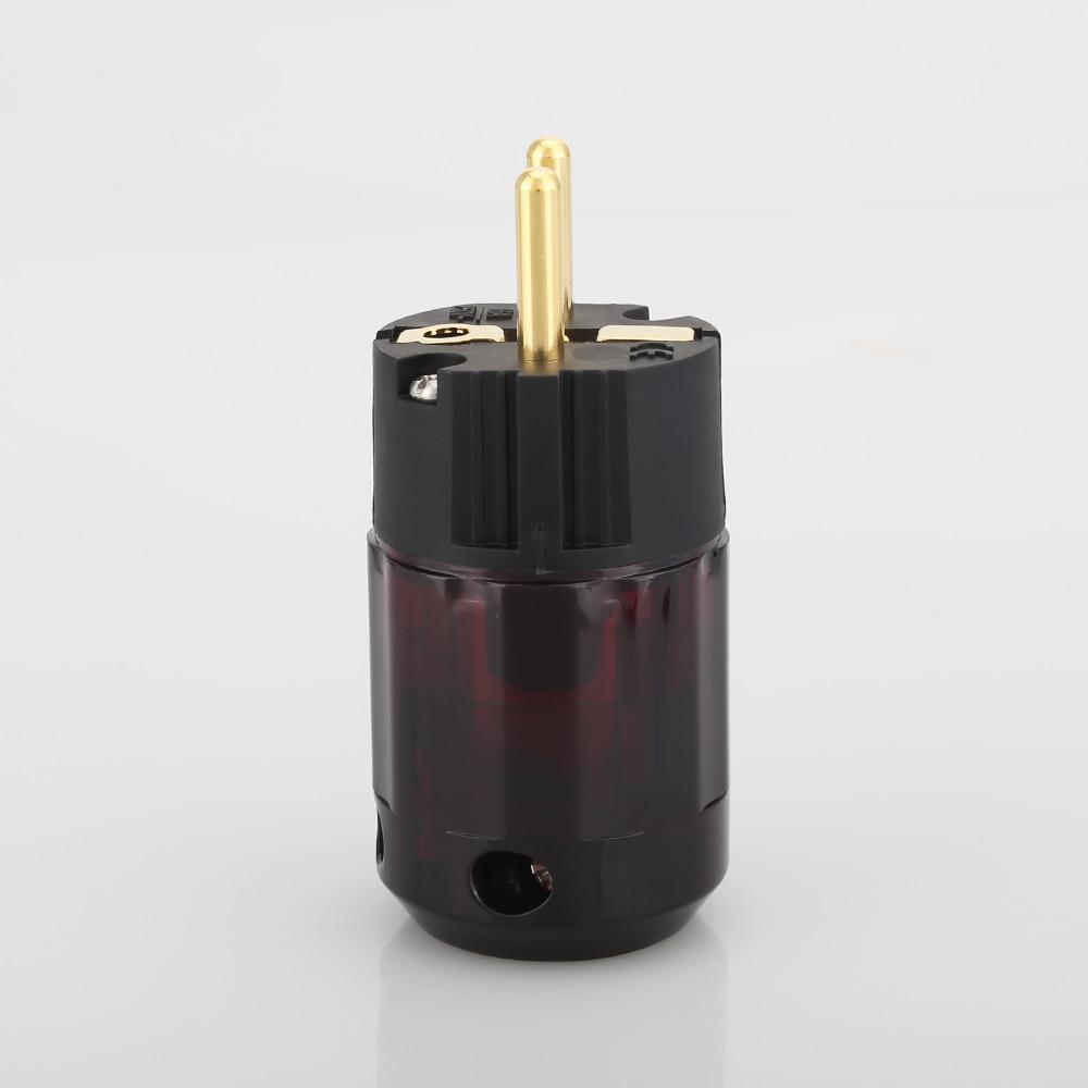 2 шт. Позолоченные штепсельные вилки Schuko P079E ЕС Версия вилки питания для аудио кабель питания