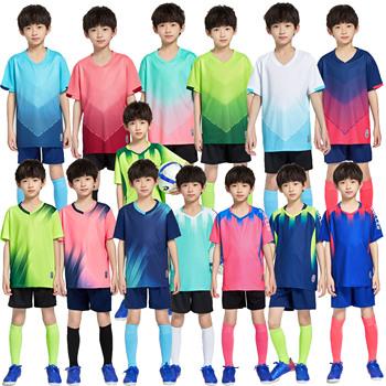 Dziecięce koszulki piłkarskie zestawy chłopięce stroje piłkarskie dziecięce gry piłkarskie treningowe zestawy sportowe dziewczyny drużyna piłki nożnej koszule jednolite tanie i dobre opinie NoEnName_Null Dobrze pasuje do rozmiaru wybierz swój normalny rozmiar CN (pochodzenie) POLIESTER SHORT K8831- K8833 Children Boys Girls Kid Child Kids