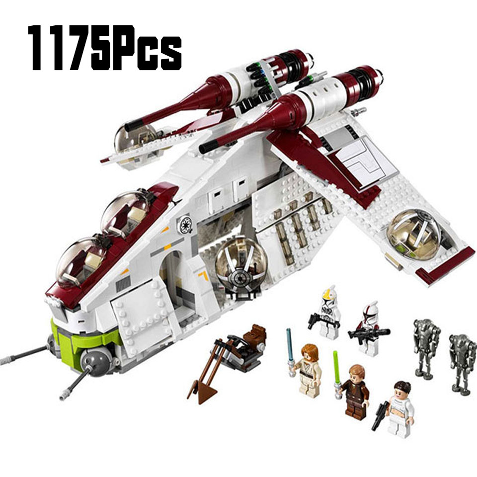 <font><b>05041</b></font> <font><b>Wars</b></font> On <font><b>Star</b></font> Toy Republic Gunship Set StarWars Compatible With LepininglyShip For Children Educational Blocks Gift Boy image