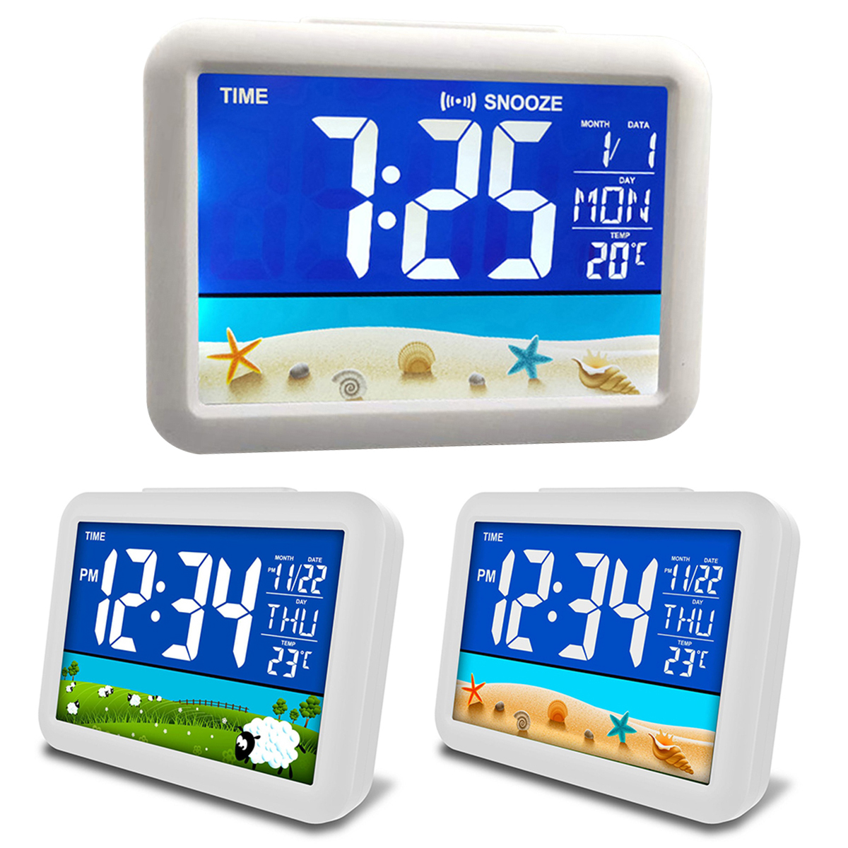 Temperature Alarm Clock Large Display For Home Office Travel Table Clock Snooze Electronic Kids Clock LCD Color Screen Clock