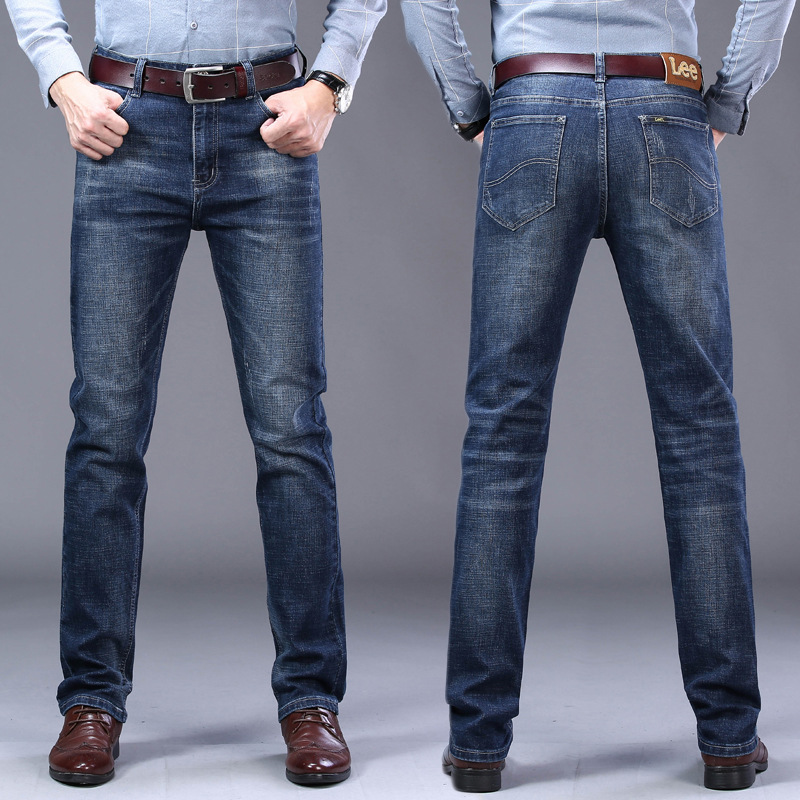 Le Autumn And Winter MEN'S Jeans Straight-Cut Business Elasticity Casual Washing Europe And America Brand Men'S Wear For Export