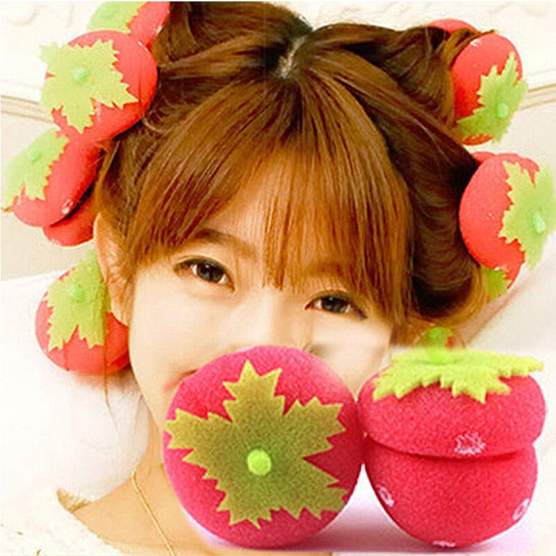 12 pçs rolos de cabelo feminino meninas rolos rolos de morango bolas adorável cuidados com o cabelo macio esponja rolos rolos diy ferramenta de maquiagem