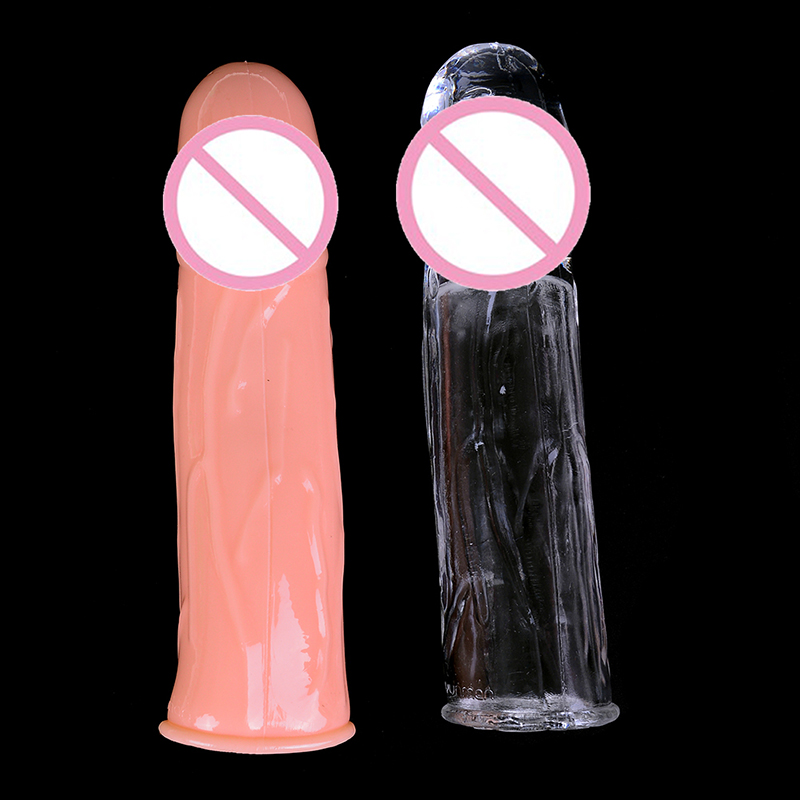 New Male Enlargement Extensions Condom Cock Ring Penis Sleeve Men Delay Spray Clit Massager Vibrating Cover Ring Body Jewelry