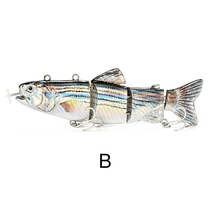 Leurre de pêche électrique Wobblers appâts artificiels rechargeables USB 4 segments EDF88