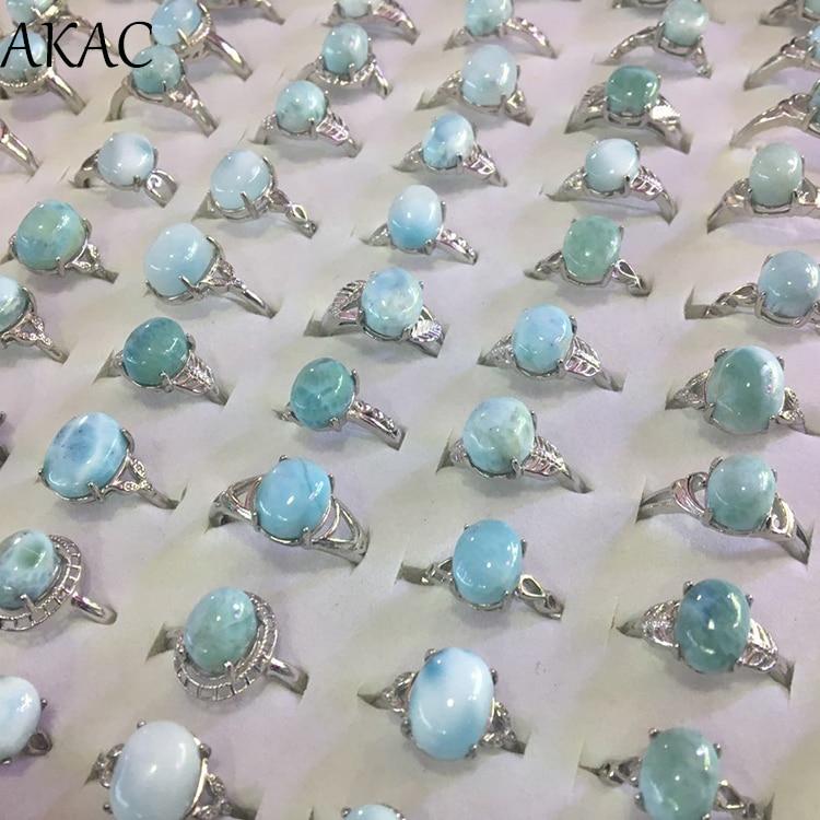 100% Natural Dominica Larimar Adjustable White Copper Ring For Women Men Ring Send Randomly Approx6-8*8-10mm