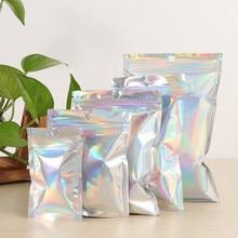 Sacs cosmétiques en plastique, sachets à fermeture éclair, en plastique, laser, holographiques, pour les cosmétiques et maquillage, irisé, 20 pièces