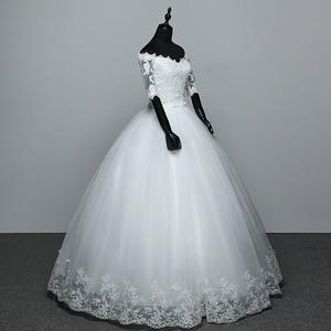 Image 3 - أنيقة قارب الرقبة نصف كم الدانتيل 2020 فستان زفاف جديد زين منظور مخصص حجم كبير ثوب زفاف Casamento L