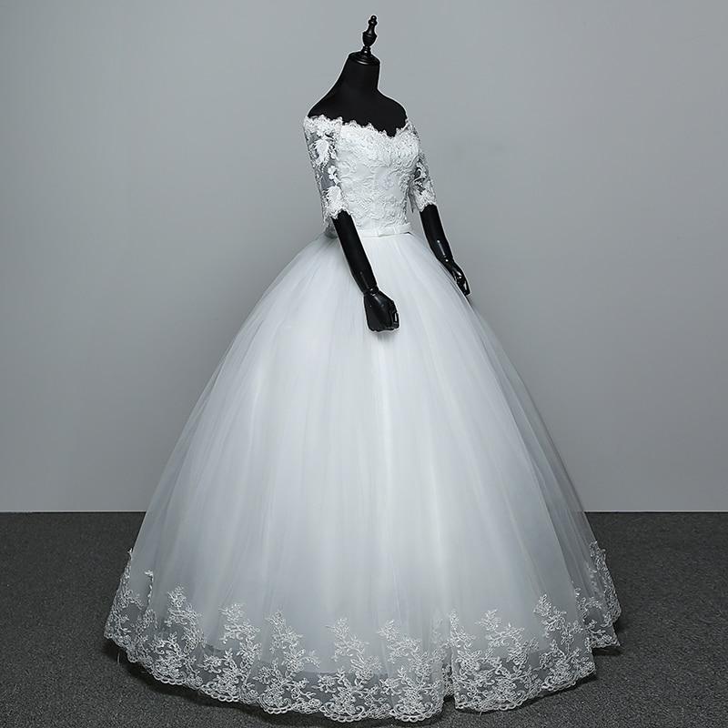 Image 3 - Elegant Boat Neck Half Sleeve Lace 2020 new Wedding Dress  Applique Perspective Custom Made Plus Size Wedding Gown Casamento  LWedding Dresses