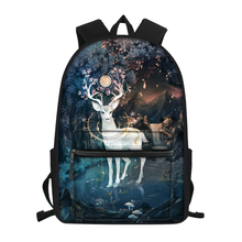 HaoYun Fashion Childrens Canvas Backpack Cartoon Deer Pattern Students Book Bags Girls Multi-functional Travel Backpacks