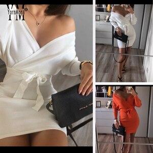 Image 2 - YornMona elegancki rękaw w kształcie skrzydła nietoperza V Neck z dzianiny biała sukienka 2019 jesienno zimowa w stylu Vintage kobiety sukienka Sash Ladies sukienka biurowa