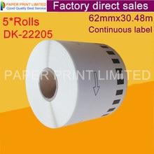 5x Rolls Fratello Etichette di codici a barre adesivo dk22205 dk 22205 dk 22205 etichetta bianca