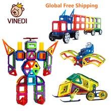 VINEDI büyük boy manyetik tasarımcı inşaat seti modeli ve bina oyuncak mıknatıslar manyetik bloklar eğitici oyuncaklar çocuklar için