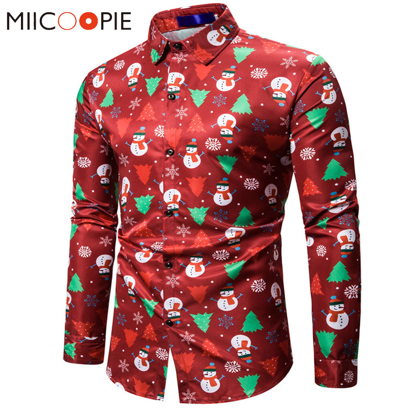 Red Christmas Shirt Mens Shirts Casual Slim Fit Snowman Christmas Tree Print Long Sleeve Chemise Homme For Party Men Streetwear