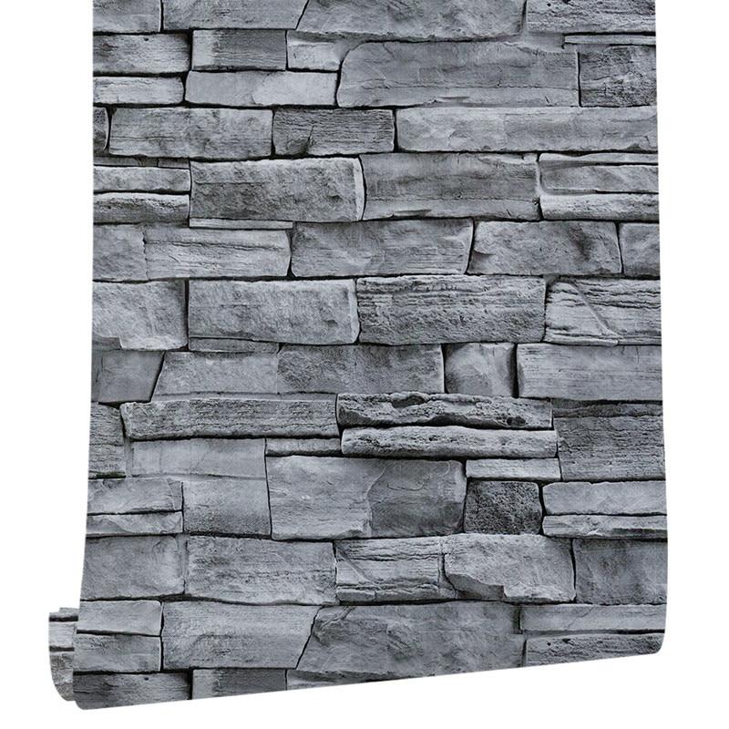 6M Living Room Kitchen Bathroom Waterproof Wall Sticker Home Decor Removable Vinyl PVC Brick Stone Self Adhesive Wallpaper