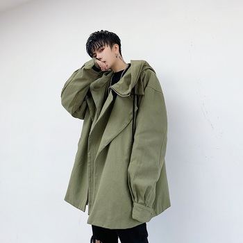 Male Women Streetwear Hip Hop Autumn Spring Coat Outerwear Men Fashion Big Collar Loose Casual Hooded Jacket