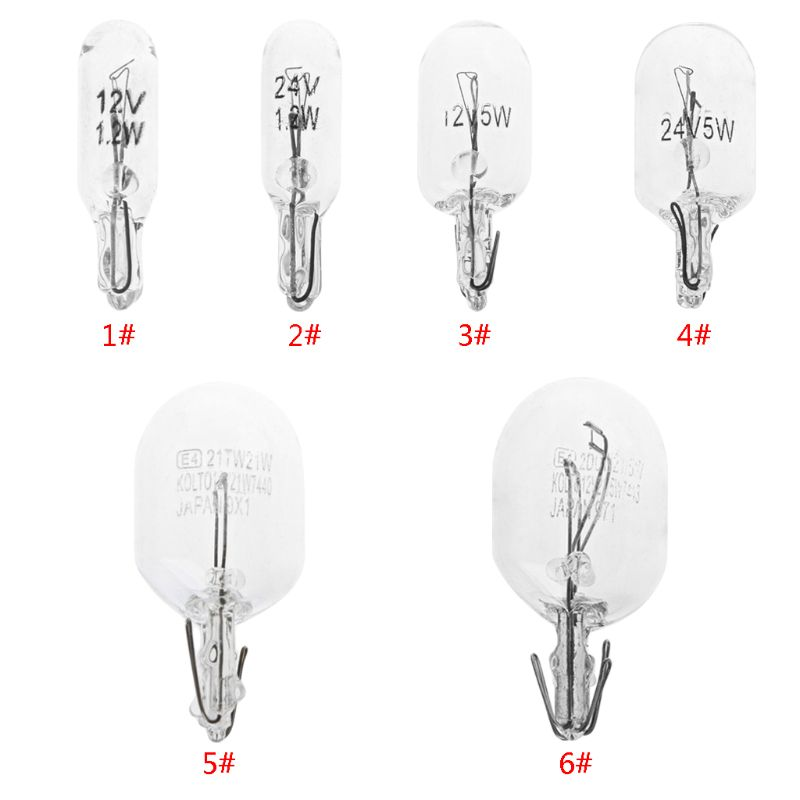 10Pcs T5 W5W White Color 1.2W 194 501 Halogen Bulb Side Wedges Car Light Source Instrument Lamp Signal Lamp