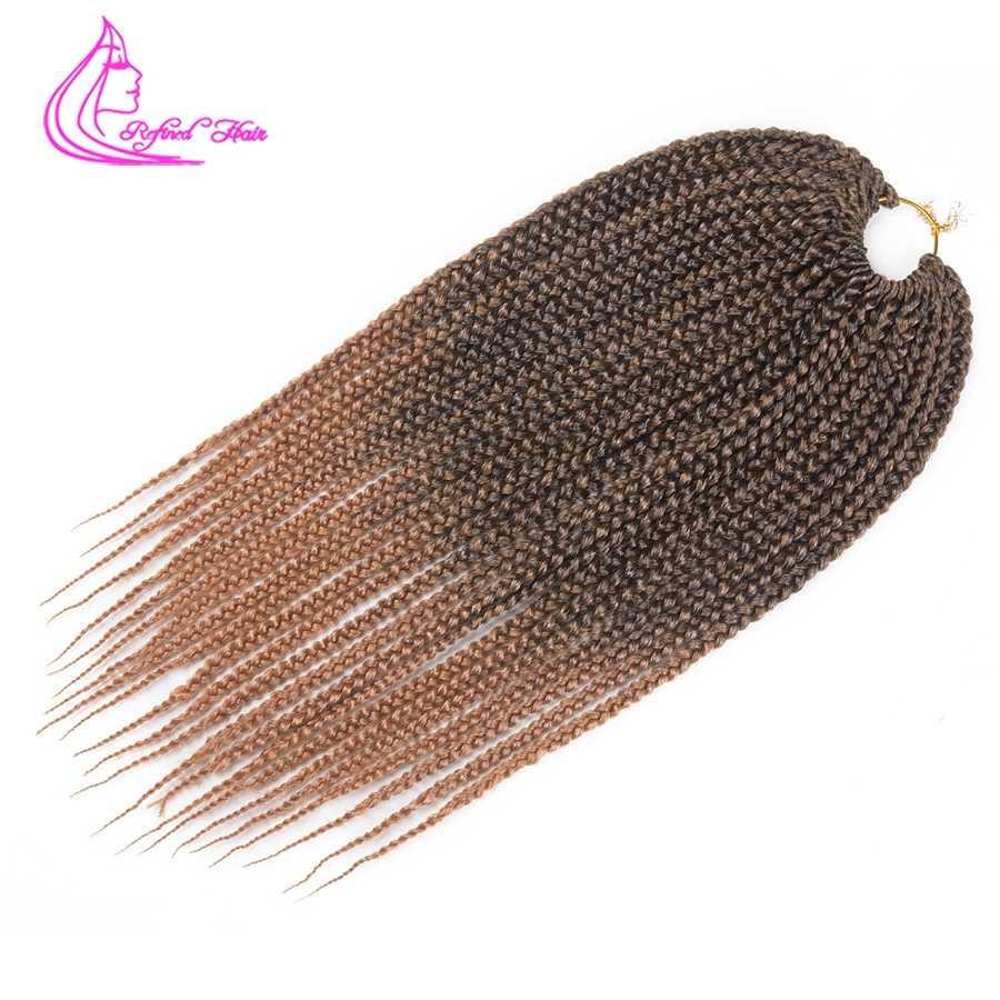 Refinado 14 18 22 pulgadas crotachet Box trenzas extensiones de cabello Ombre marrón Borgoña trenza sintética a crochet fibra de baja temperatura