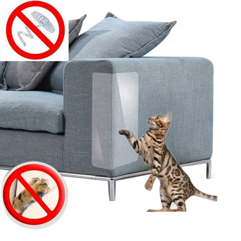 4pcs Couch Cat Scratch Guards Mat Scraper Furniture Protector For Cat Scratching Protection Clawing Repellent Couch Guard Sofa