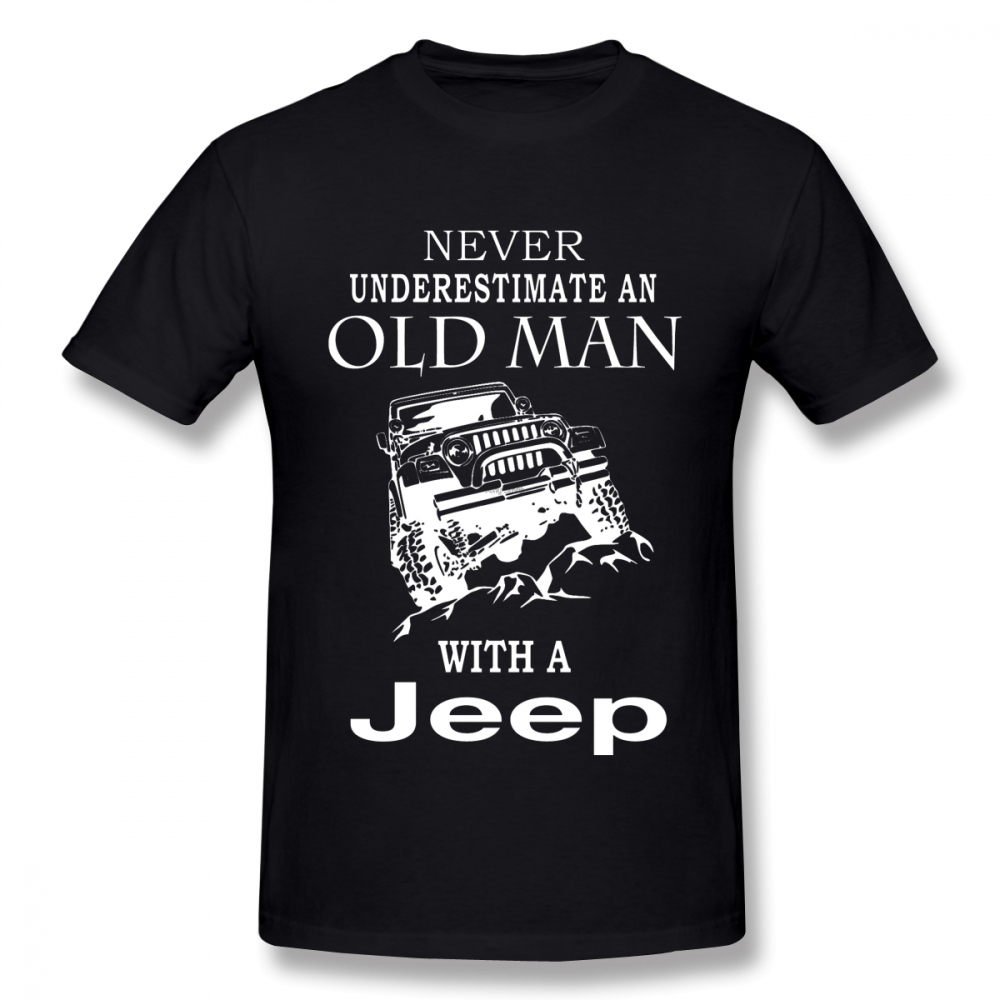 Man Old With A Jeep T Shirt S-5XL Short Sleeve 100% Cotton shirt  3D Print Car Tees