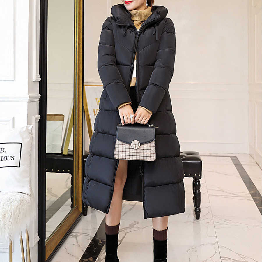 Solidna bluza z kapturem długie płaszcze damskie Casaco Inverno Feminino zima Plus Size parki płaszcz żeński, moda, zamek ciepłe kurtki Outerwears