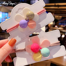 1PCS Korean Style Hair Band Candy Color Flower Elastic Bands Girl Play Colorful Beaded Hairgrip Scrunchie Accessories