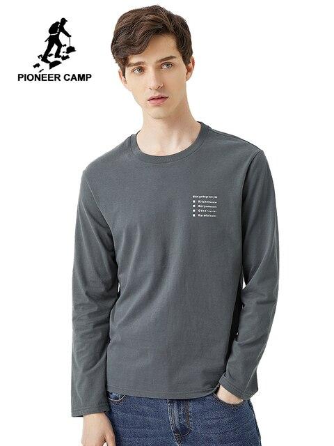 פיוניר 2020 אביב חולצה גברים ארוך שרוול מוצק 100% כותנה מכתב מודפס O צוואר אופנה סיבתי חולצות Mens ACT0102011