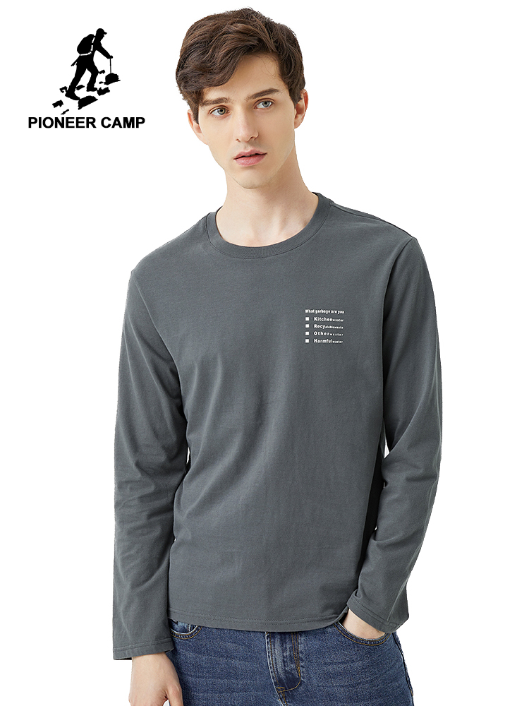 Pioneer 2020 Spring T-shirt Men Long Sleeve Solid 100% Cotton Letter Printed O-neck Fashion Causal T-shirts Mens ACT0102011
