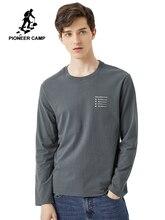 Pioneer 2020 bahar T shirt erkekler uzun kollu katı % 100% pamuk mektubu baskılı o boyun moda rahat T shirt erkek ACT0102011