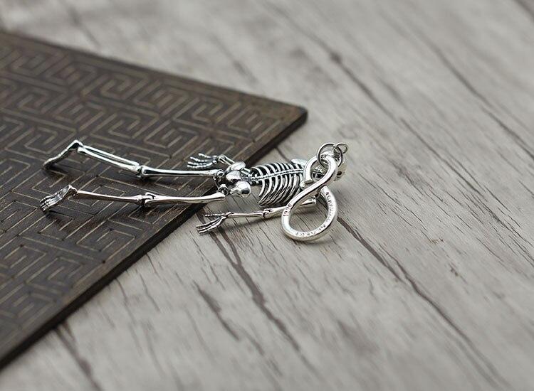 S925 sterling silber schlüssel ring Retro persönlichkeit hip hop schädel einzigartige tasche taste Thai silber punk schlüssel kette Senden liebhaber geschenk - 4
