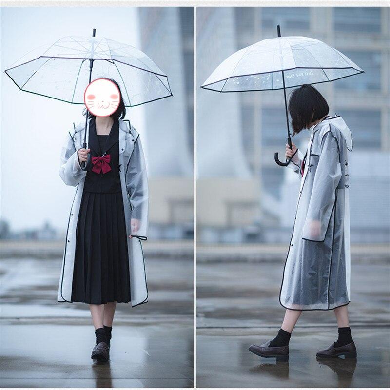 Anime BLACK ROCK SHOOTER Cosplay Toy EVA Transparent Raincoat Outdoor Travel Rainwear Waterproof BRS Hooded  Plastic Rain Cover 2