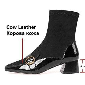Image 3 - FEDONAS مربع اصبع القدم النساء منتصف العجل الأحذية بوط من الجلد الطبيعي الدافئة السيدات الجوارب أحذية أنيقة حزب منصات الشتاء أحذية امرأة
