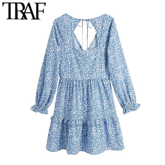 TRAF Women Chic Fashion Animal Print Ruffle Mini Dress Vintage Backless Bow Tied Side Zipper Female Dresses Vestidos 2
