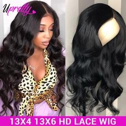 HD прозрачный кружевной парик 13x6 синтетические волосы объемной волны Синтетические волосы на кружеве парики из натуральных волос на кружев...
