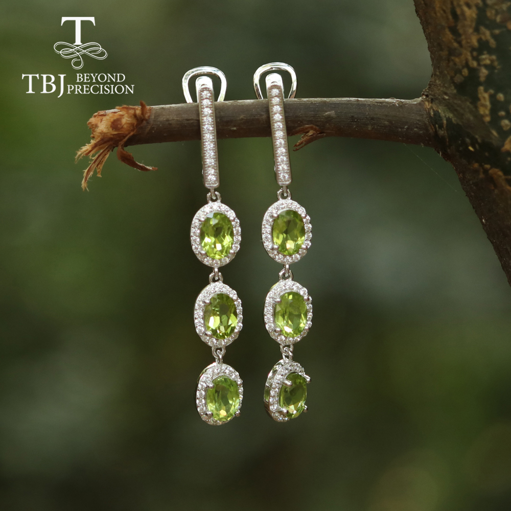 5ct Up Long Peridot Gemstone Clasp Earring 925 Sterling Silver Fine Jewelry For Gilrs Best Gift For Girlfriend Tbj Jewelry