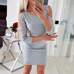 Bodycon Dresses Hot-Product Cold-Shoulder Lace Evening-Party Mini Women Ladies Beading