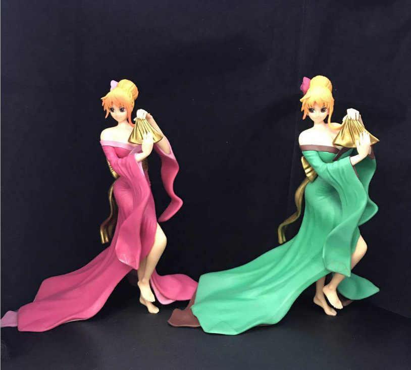 Seksi Anime tek parça yaratıcı Nami yeşil ve pembe Kimono Ver. Modeli PVC Action Figure Brinquedos koleksiyon güzel elbise bebek