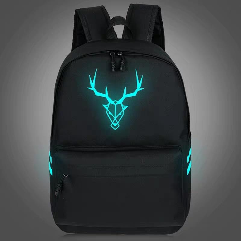 2020 New Canvas Luminous Backpack Female Korean Version Men's Leisure Computer Backpack Student Bag College Style Travel Bag