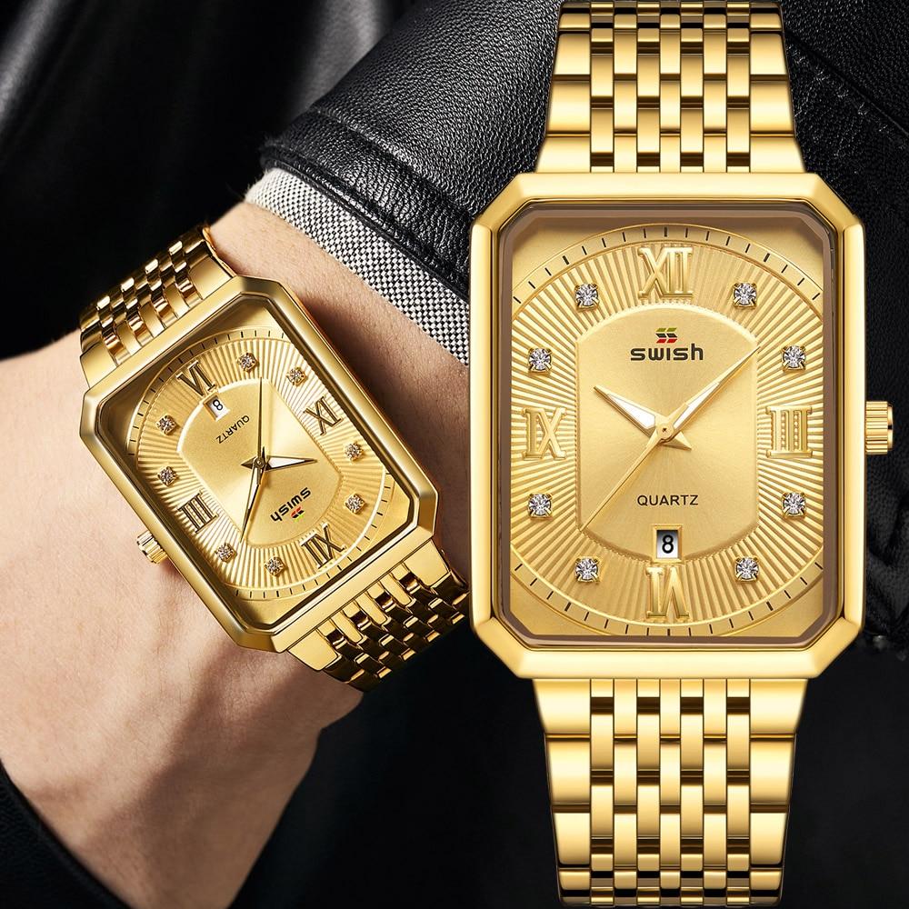 Luxury Golden Watches Men Top Brand Designer Quartz Wristwatches Creative Rectangle Diamond Watch Waterproof Relogio Masculino